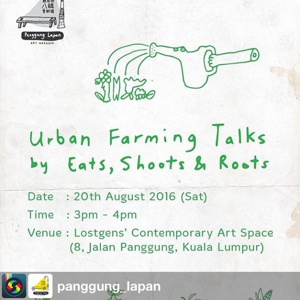We'll be at the Art Weekend today! Talking about the work we do from 3pm - 4pm, and then with our new Seed Boxes from 5pm onwards! Come grab some seeds or a sayur t shirt or two. from @panggung_lapan with #sharegram.app. Clear your weekend this 20-21st August 2016 and come hang with Eats, Shoots & Roots at the Panggung Lapan Art Weekend!