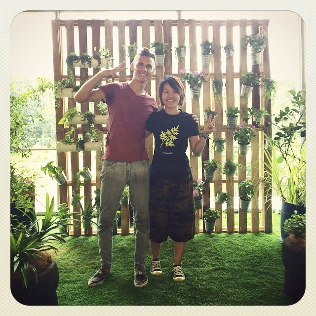 Nick & Khim after a day of setting up the pop up edible garden for the @mythinkcity booth at the @khazanah Megatrends Forum, happening over the next 2 days in KL Convention Centre.