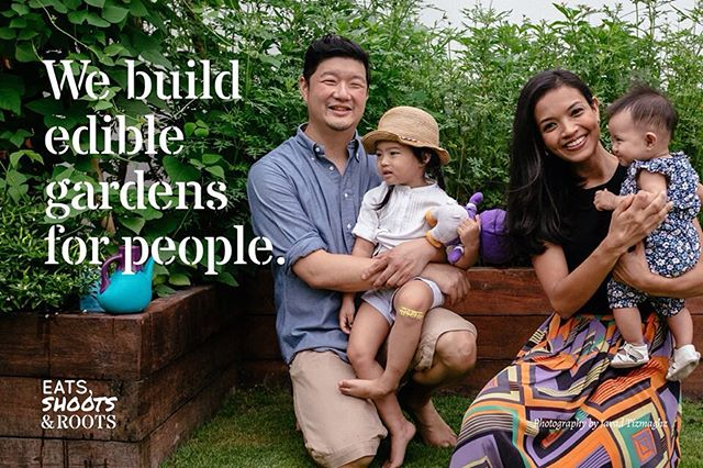 Featured garden: Ping Ho & Cheryl's Edible Garden, designed and built by @eatsshootsandroots. Photo featured is of the couple and their two children against the backdrop of their planter box full of Ulam Raja! Follow some of their gardening adventures at @cherylsamad